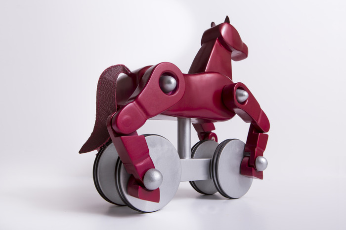 Metallic Silver & Majestic Bordeaux Horse