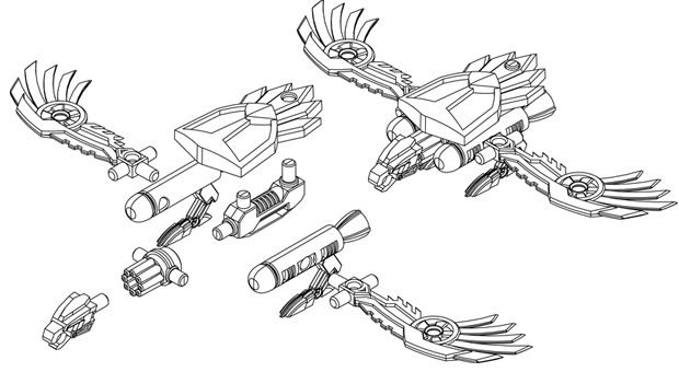 Cad Image of Featherblight, assembled and with parts separated.