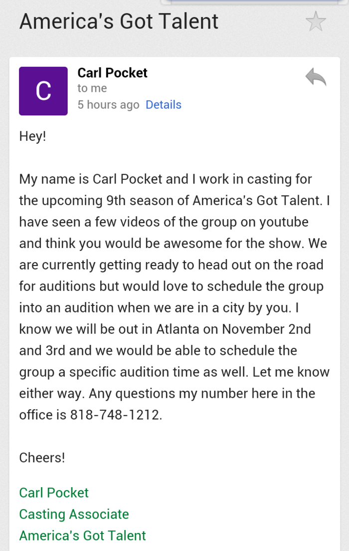 "Recently, a casting director for the hit television reality show, ""America's Got Talent"" reached out to us and said they think we would be a great addition to the upcoming 9th season of the show. Never thought this was possible."