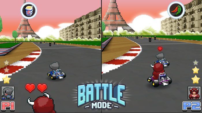 "Mockup representation of a Split-screen Battle Mode - Get ready to fight over the ""good"" joypad!"