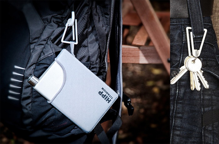 Use the Ti Hook with the HIPP neoprene jacket to keep your flask handy when outdoors or just a great way to carry your keys