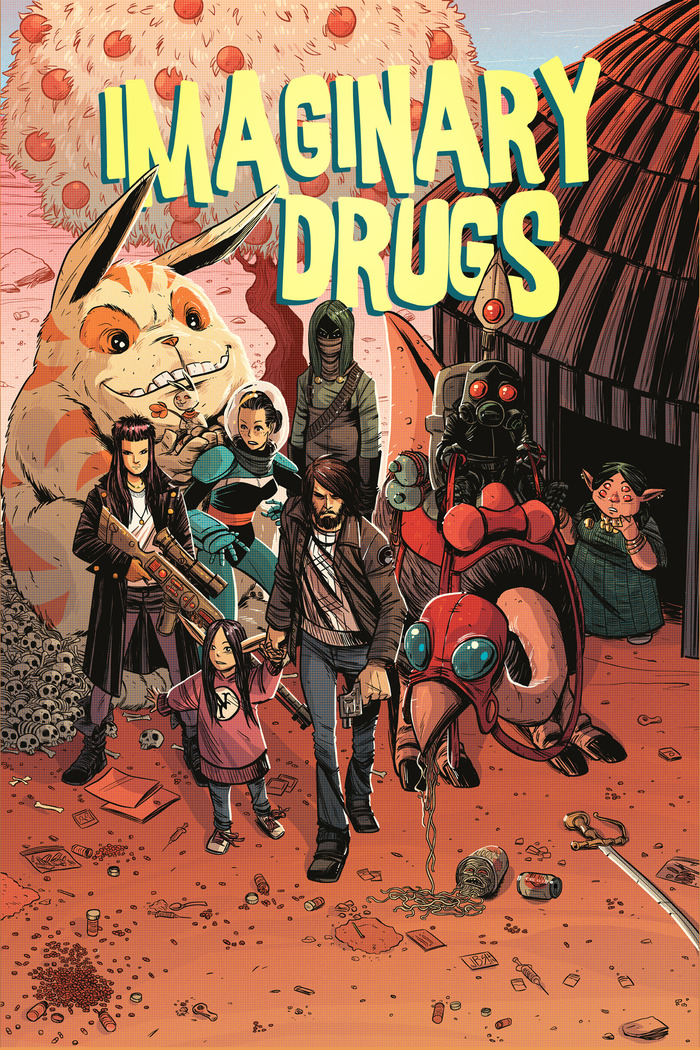 Imaginary Drugs cover by Jonathan Brandon Sawyer and Christine Larsen.