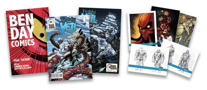 PDF of Ben-Day comics featuring Paul Tucker (Eternal Flame), Teddy and The Yeti issues 1 and 2, and a set of 18 Teddy and The Yeti trading cards.