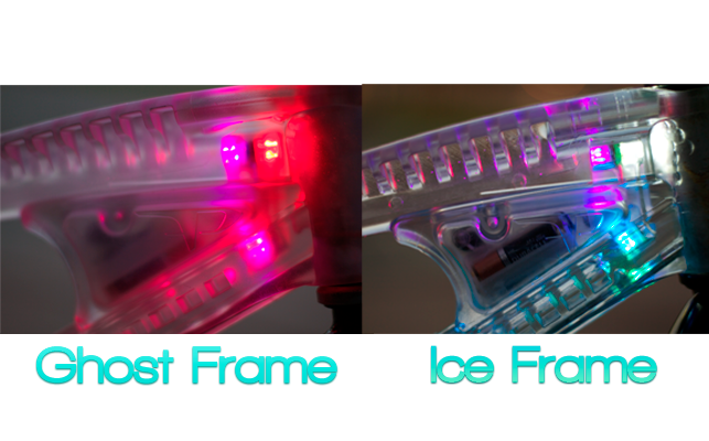 Two frame options, the smoked Ghost Frame & the clear Ice Frame