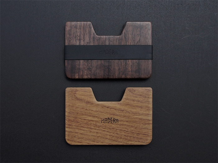 The Madera logo is debossed on the strap and laser-etched on the wood.