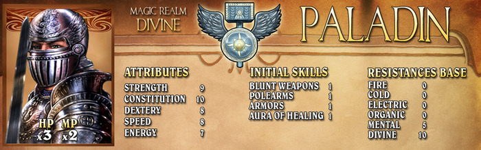 Paladins live by a strict code of honor, selflessness and sacrifice. They are so devoted to the Divine Realm that the gods grant these warriors their blessings and magic.