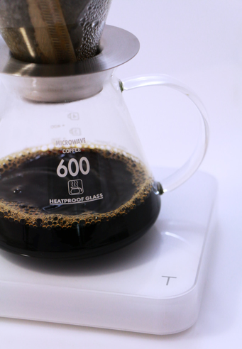 Hot coffee on Acaia coffee scale