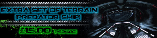 Includes an entire Predator ship and the rules to play it in the Board Game, including 4 rooms, 12 corridors, environmental rules and missions for all 3 factions.