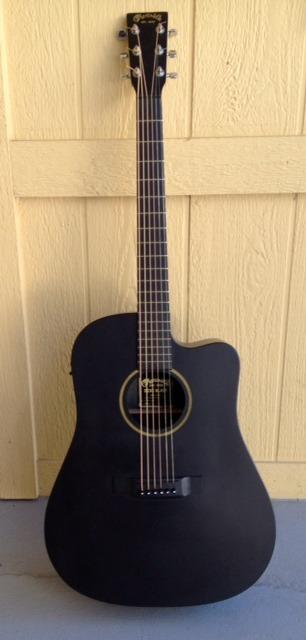David J's DCXE Black Martin guitar