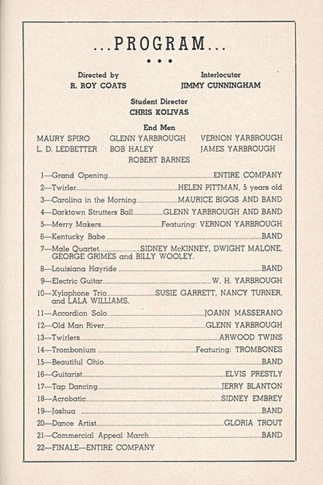 page from the 1953 talent show program - note the ...