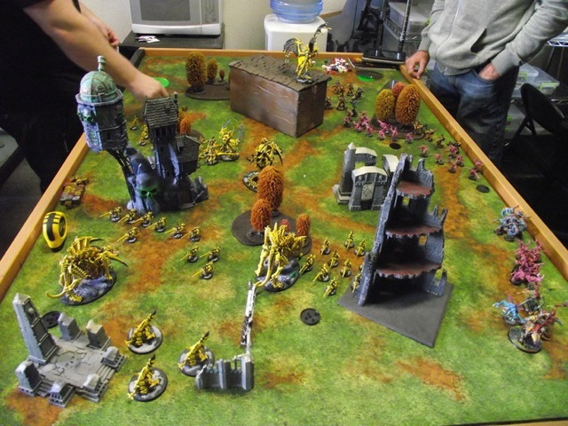 """Grassy Plains"" Mega Mat in action! Please note, miniatures and terrain are shown for demonstration purposes only and are not included."