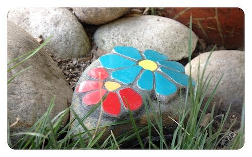 Mosaic Flower Stones - another handmade pledge reward!