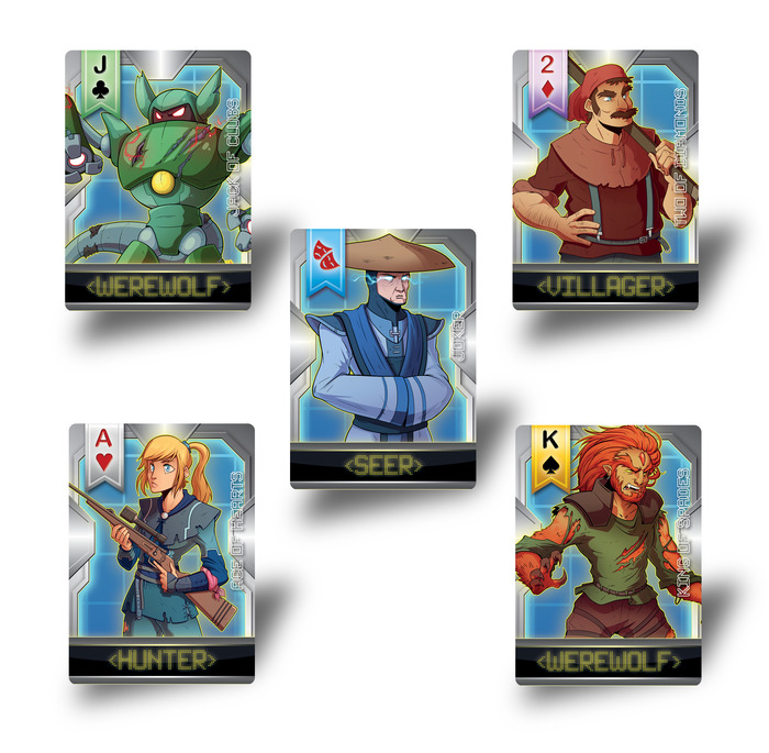 (Preview of just some of the Hunter, Seer, Werewolf, and Villager role cards!)