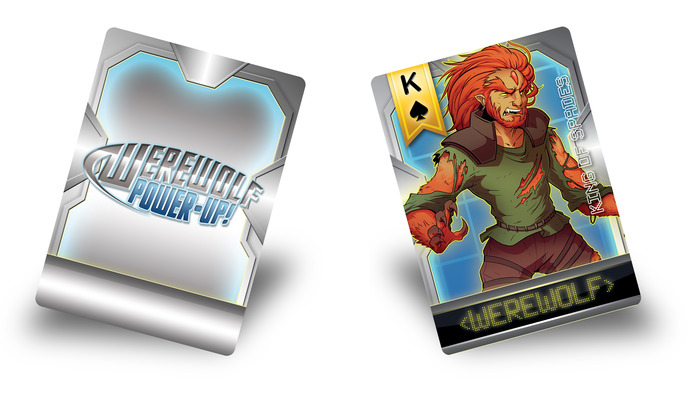 (Front and back side of a plastic card in our game! Characters and art shown are not final and may change.)