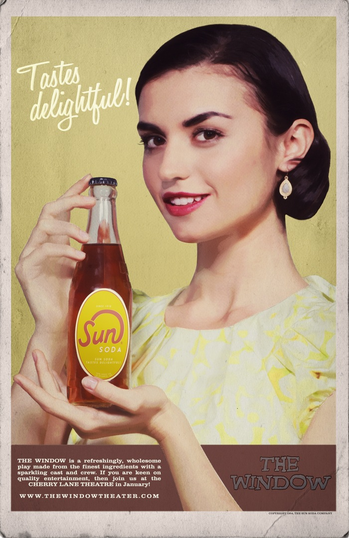 An original Sun Soda ad with our Eva on every t-shirt!