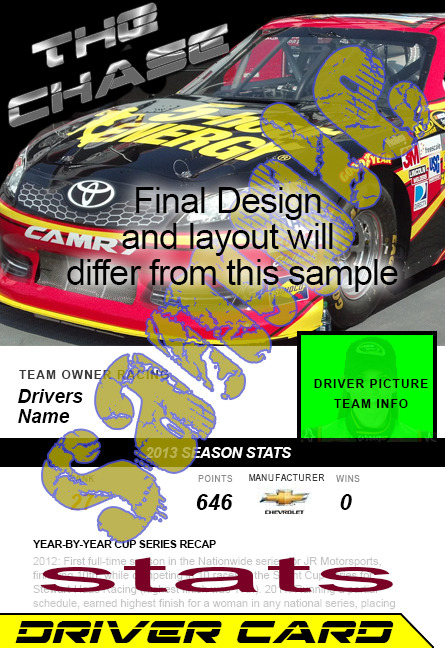 Driver Cards will have historic data and auto and driver pictures