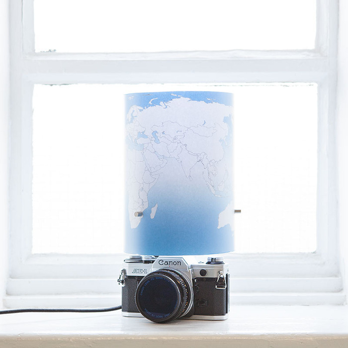 Lovely Canon AE1 and a world-map lampshade that's easy to make!