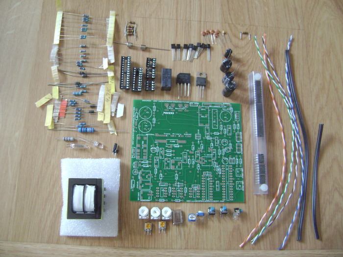Basic OSC4.3 kit, including pc board, all components to populate the board, preprogrammed microcontrollers and ICs and transformer, hookup wire - $145 pledge