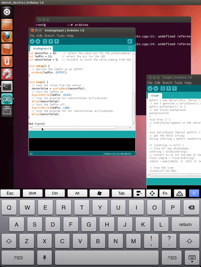 IPAD connects to Crystal Board using PocketCloud, a VNC app