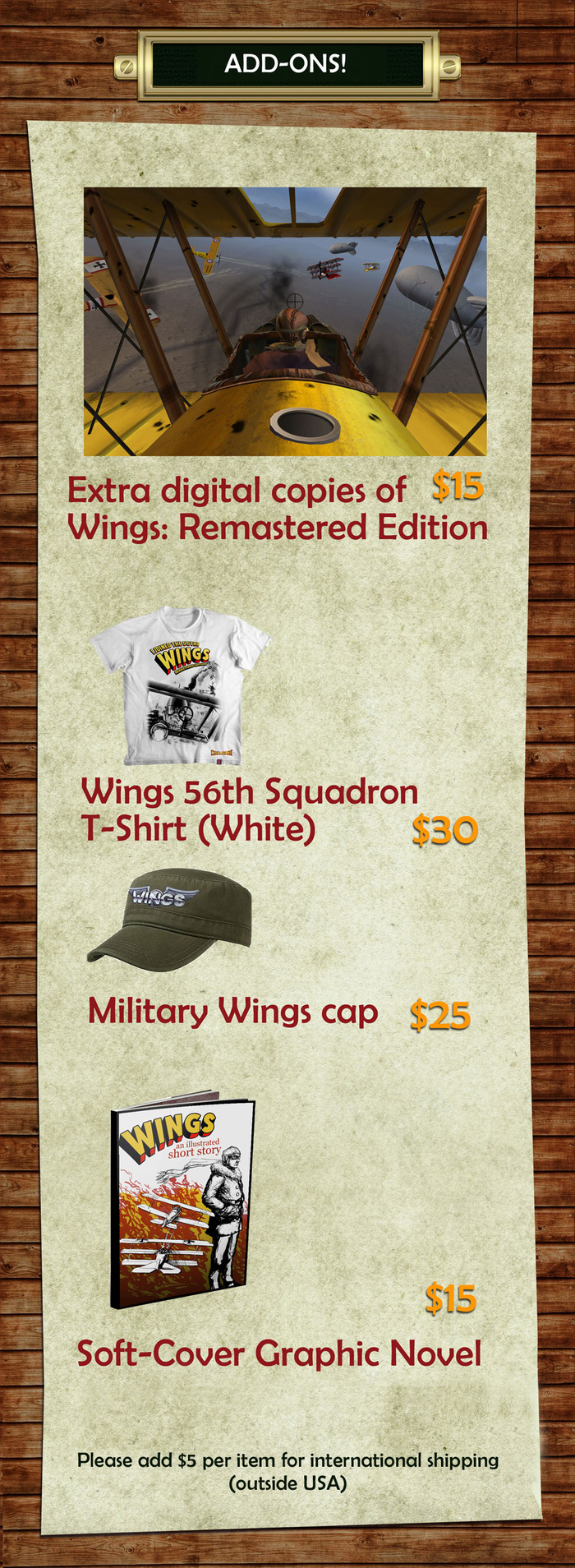 Purchase these items and help fund Wings Remastered Edition further!