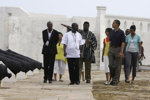 Obama and family visiting Cape Coast Castle.