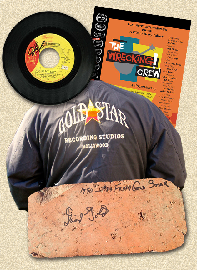"Gold Star Studio memorabilia package consisting of a ""Be My Baby"" 45 signed by Ronnie Spector, Hal Blaine and Bill Pitman; a Gold Star jacket; a brick from the Gold Star Studio building signed by Dave Gold; a Wrecking Crew poster and DVD"