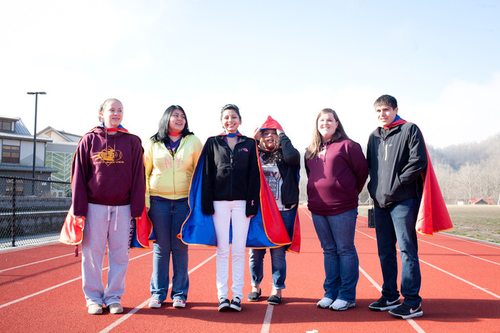 Gifted capes to the student ambassadors of the Cherokee Nation who launched a weather balloon to the edge of space!