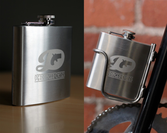 $70 - Stainless Steel Bicycle Flask Holder and Laser Engraved Flask