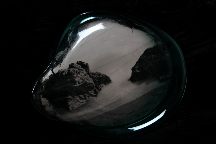 "Exposure of ocean and rocks on transparent glass 11""x11"" *New work*"