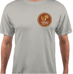 Just added: A cotton t-shirt emblazoned with the Urban Putt logo. Be the pride of he links for just 30 bucks.