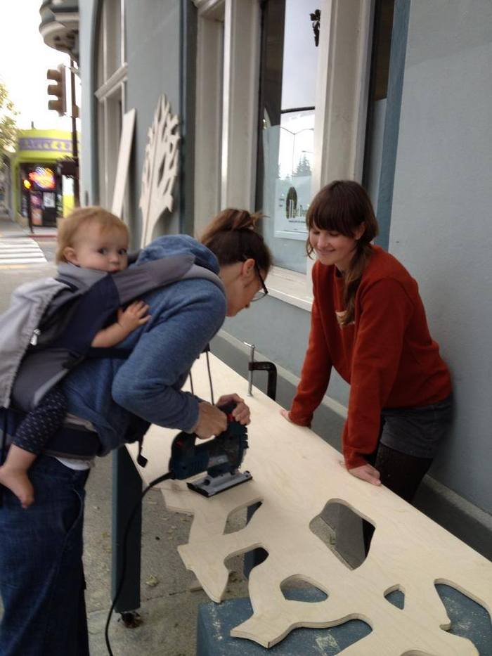 Making a sculpture for the Maker Faire. Baby makes three.