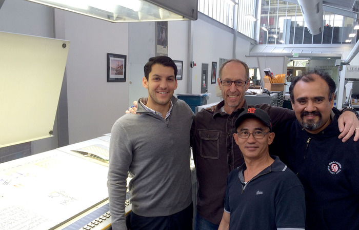 The team at Watermark on press yesterday: Andrew Garcia, account rep; Bruce Kemp, prepress supervisor; Sammy, pressman; Juan Perez, press foreman