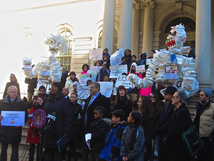 NYC City Hall Rally for foam ban bill, November 25, 2013- Giant No-styro puppets and 5th grade activists from Cafeteria Culture's ARTS+ACTION program at PS 34 M in NYC.