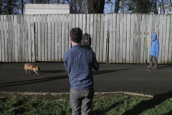 "Charlie, our brilliant cinematographer, shooting the test for ""the encounter"" between Kevin and the urban fox."