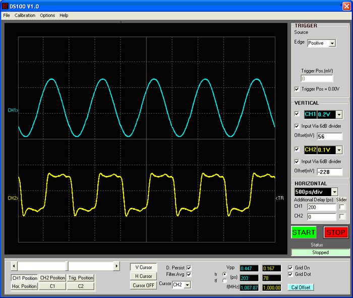 DS100 Windows application GUI, showing 1 GHz sine generated by low noise SAW oscillator and output of ONET 8501 edge generator on second channel