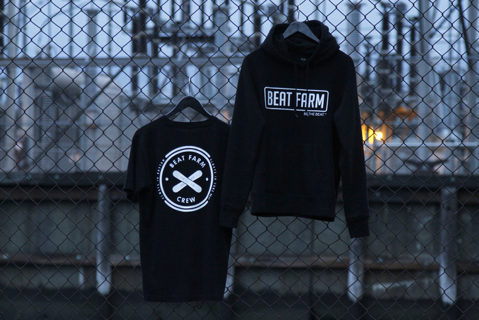 Front and back graphic on the Beat Farm Crew Tee and Hoodie.