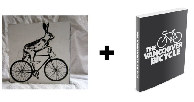 REWARD #10 6X6 WOOD BLOCK SCREEN PRINT AND A COPY OF THE VANCOUVER BICYCLE