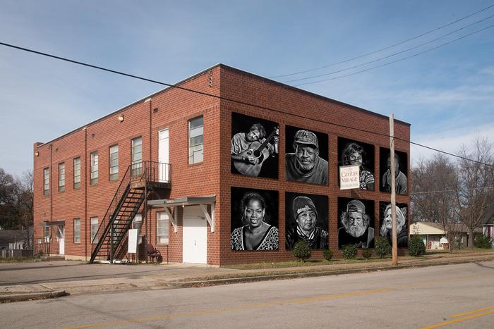 Caritas Village mock up with portrait panels