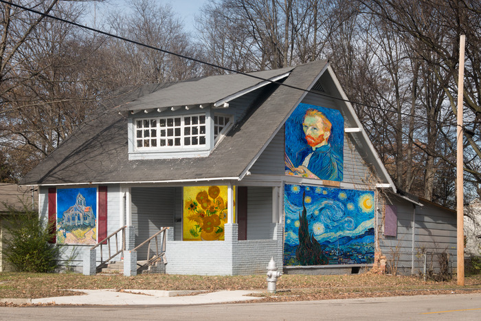 Abandoned house with Van Gogh images