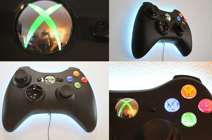 Super Sized 3d Xbox Inspired Game Controller Led Wall Art