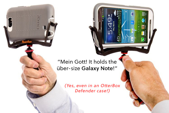 The Monster-Killer Samsung Galaxy Note is easily kept under control by the PocketShot.
