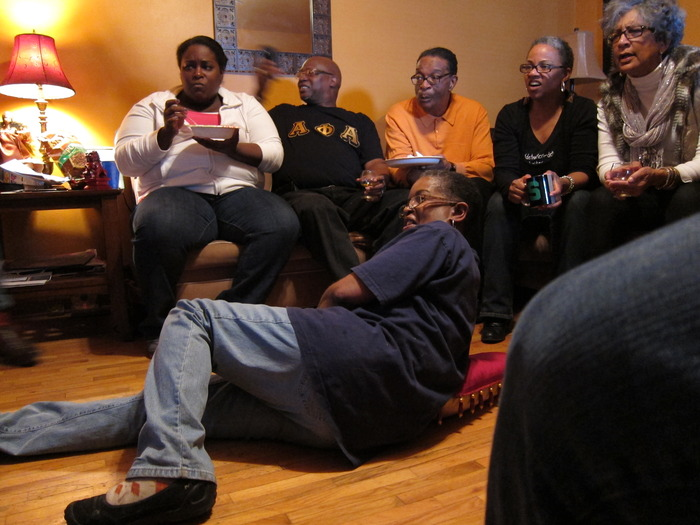 Beverly Jenkins, with friends and family in Michigan, watching the football playoffs