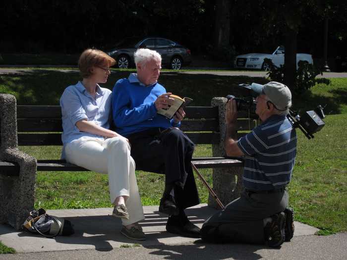 Eloisa James (Mary Bly) reading poetry with her father, poet Robert Bly, in Minnesota
