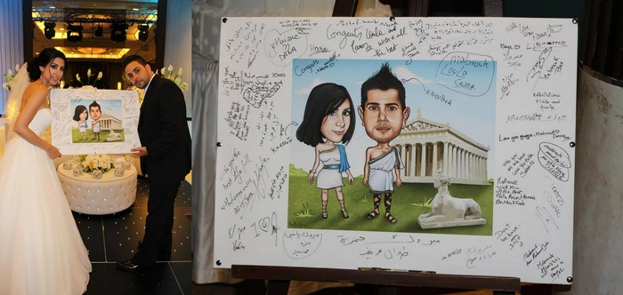 Caricature poster board at a wedding