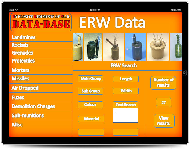 This is the first ERW data search menu.  You can search through individual main groups or attempt to enter details in the search area.  Small thumb-nails show a single image of each item which can be scrolled along.