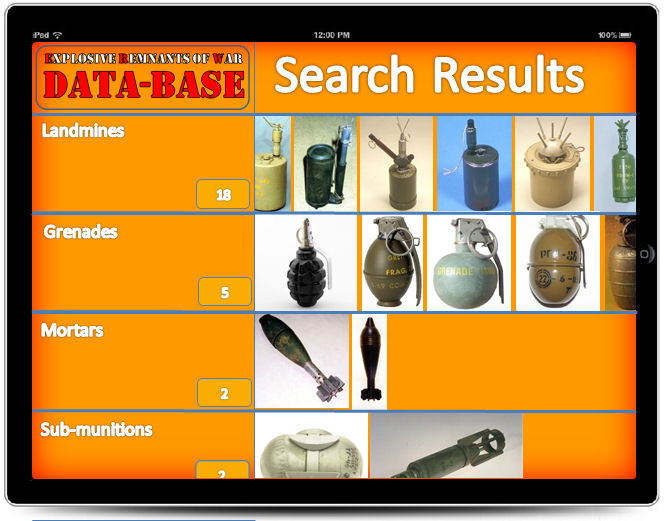This page shows, by main groups the items found from your search.