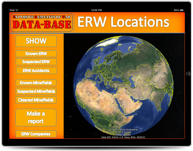 This ERW Location page, utilising Google Earth indicates the locations of ERW as reported to CAT-UXO.