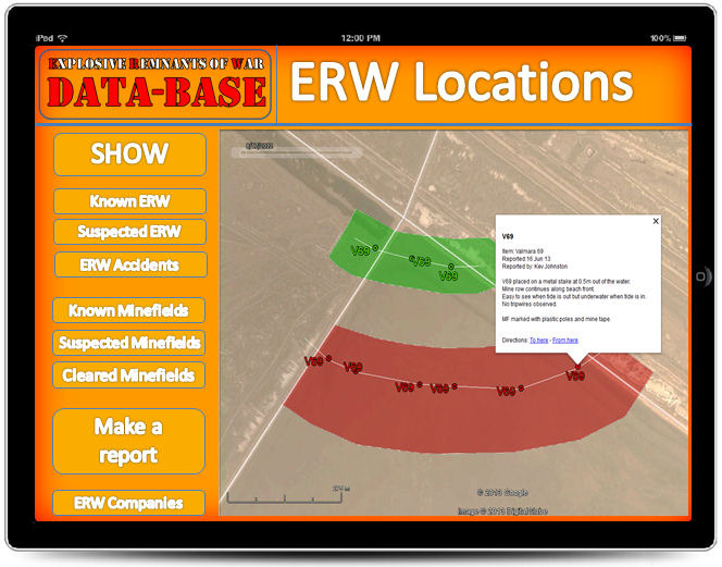 By zooming in on Google Earth individual items of ERW or minefield locations can be seen.  Members only will be able to access coordinates and specific ERW data.