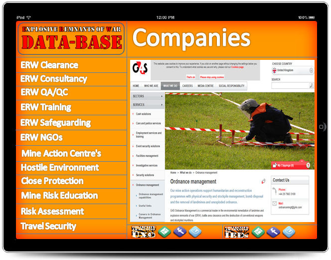 Here a data-base of EOD companies including clearance, consultancy and training can advertise their services and contact details.