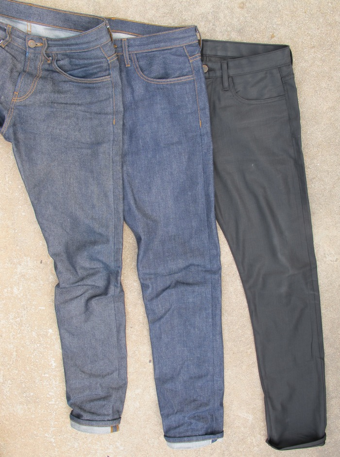 """Fabric - Left to right. Japanese left hand twill denim, U.S.A. Selvage Denim, Italian Black Denim. Charcoal Raw and Indigo Raw are shown in the """"Fit"""" photos above."""
